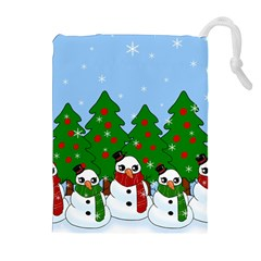 Kawaii Snowman Drawstring Pouches (extra Large) by Valentinaart