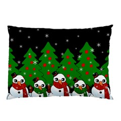 Kawaii Snowman Pillow Case by Valentinaart