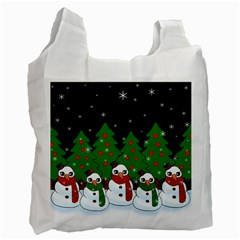 Kawaii Snowman Recycle Bag (one Side) by Valentinaart