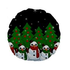 Kawaii Snowman Standard 15  Premium Round Cushions by Valentinaart