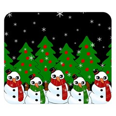 Kawaii Snowman Double Sided Flano Blanket (small)  by Valentinaart
