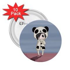 Kawaii Panda Girl 2 25  Buttons (10 Pack)  by Valentinaart