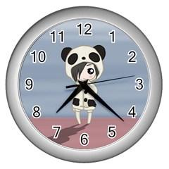 Kawaii Panda Girl Wall Clocks (silver)  by Valentinaart