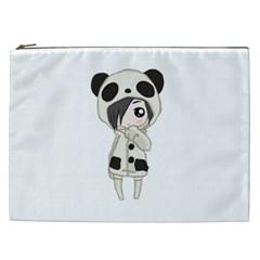 Kawaii Panda Girl Cosmetic Bag (xxl)  by Valentinaart