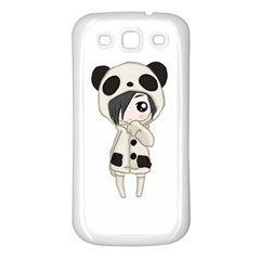 Kawaii Panda Girl Samsung Galaxy S3 Back Case (white) by Valentinaart