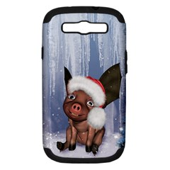Christmas, Cute Little Piglet With Christmas Hat Samsung Galaxy S Iii Hardshell Case (pc+silicone) by FantasyWorld7