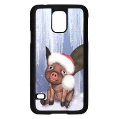 Christmas, Cute Little Piglet With Christmas Hat Samsung Galaxy S5 Case (black) by FantasyWorld7