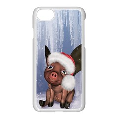 Christmas, Cute Little Piglet With Christmas Hat Apple Iphone 7 Seamless Case (white) by FantasyWorld7