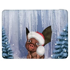 Christmas, Cute Little Piglet With Christmas Hat Samsung Galaxy Tab 7  P1000 Flip Case by FantasyWorld7