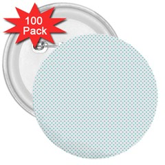 Tiffany Aqua Blue Candy Polkadot Hearts On White 3  Buttons (100 Pack)  by PodArtist