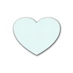 Tiffany Aqua Blue Candy Polkadot Hearts On White Heart Coaster (4 Pack)  by PodArtist