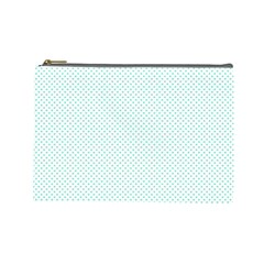 Tiffany Aqua Blue Candy Polkadot Hearts On White Cosmetic Bag (large)  by PodArtist