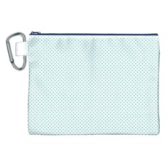 Tiffany Aqua Blue Candy Polkadot Hearts On White Canvas Cosmetic Bag (xxl) by PodArtist