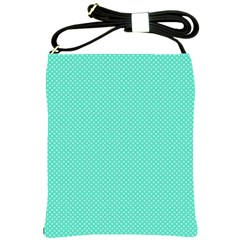 White Polkadot Hearts On Tiffany Aqua Blue  Shoulder Sling Bags by PodArtist