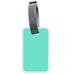 White Polkadot Hearts On Tiffany Aqua Blue  Luggage Tags (two Sides) by PodArtist