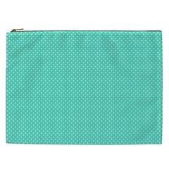 White Polkadot Hearts On Tiffany Aqua Blue  Cosmetic Bag (xxl)  by PodArtist