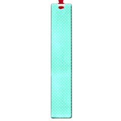 White Polkadot Hearts On Tiffany Aqua Blue  Large Book Marks by PodArtist