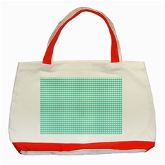 Tiffany Aqua Blue Candy Hearts On White Classic Tote Bag (red) by PodArtist
