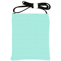 Tiffany Aqua Blue Candy Hearts On White Shoulder Sling Bags by PodArtist