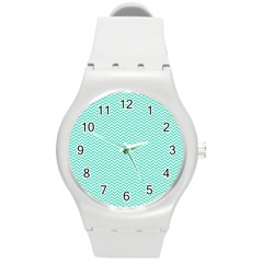 Tiffany Aqua Blue Chevron Zig Zag Round Plastic Sport Watch (m) by PodArtist