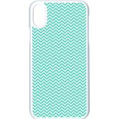 Tiffany Aqua Blue Chevron Zig Zag Apple Iphone X Seamless Case (white) by PodArtist