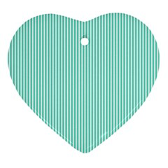 Classy Tiffany Aqua Blue Sailor Stripes Heart Ornament (two Sides) by PodArtist