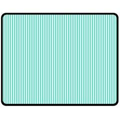 Classy Tiffany Aqua Blue Sailor Stripes Fleece Blanket (medium)  by PodArtist