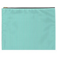 Classy Tiffany Aqua Blue Sailor Stripes Cosmetic Bag (xxxl)  by PodArtist