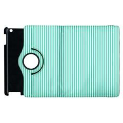 Classy Tiffany Aqua Blue Sailor Stripes Apple Ipad 3/4 Flip 360 Case by PodArtist