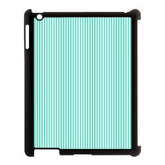 Classy Tiffany Aqua Blue Sailor Stripes Apple Ipad 3/4 Case (black) by PodArtist