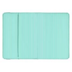 Classy Tiffany Aqua Blue Sailor Stripes Samsung Galaxy Tab 8 9  P7300 Flip Case by PodArtist