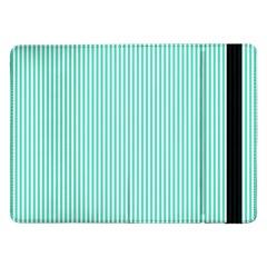 Classy Tiffany Aqua Blue Sailor Stripes Samsung Galaxy Tab Pro 12 2  Flip Case by PodArtist