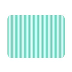 Classy Tiffany Aqua Blue Sailor Stripes Double Sided Flano Blanket (mini)  by PodArtist