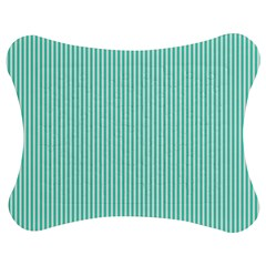 Classy Tiffany Aqua Blue Sailor Stripes Jigsaw Puzzle Photo Stand (bow) by PodArtist
