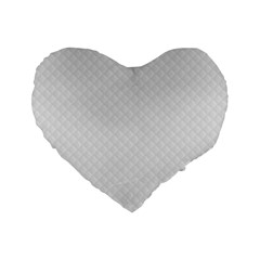 Bright White Stitched And Quilted Pattern Standard 16  Premium Heart Shape Cushions by PodArtist
