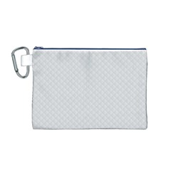 Bright White Stitched And Quilted Pattern Canvas Cosmetic Bag (m) by PodArtist