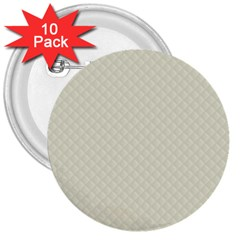 Rich Cream Stitched And Quilted Pattern 3  Buttons (10 Pack)  by PodArtist