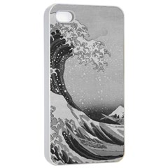 Black And White Japanese Great Wave Off Kanagawa By Hokusai Apple Iphone 4/4s Seamless Case (white) by PodArtist