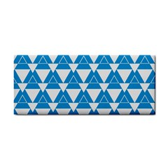 Blue & White Triangle Pattern  Cosmetic Storage Cases by berwies