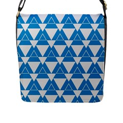 Blue & White Triangle Pattern  Flap Messenger Bag (l)  by berwies