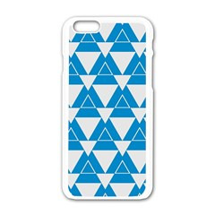 Blue & White Triangle Pattern  Apple Iphone 6/6s White Enamel Case by berwies