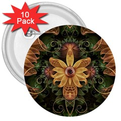 Beautiful Filigree Oxidized Copper Fractal Orchid 3  Buttons (10 Pack)  by jayaprime