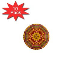 Sunshine Mandala And Other Golden Planets 1  Mini Magnet (10 Pack)  by pepitasart