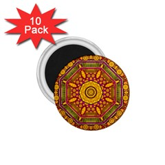 Sunshine Mandala And Other Golden Planets 1 75  Magnets (10 Pack)  by pepitasart
