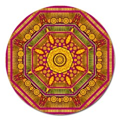 Sunshine Mandala And Other Golden Planets Magnet 5  (round) by pepitasart