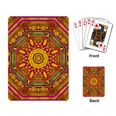 Sunshine Mandala And Other Golden Planets Playing Card by pepitasart