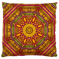 Sunshine Mandala And Other Golden Planets Large Flano Cushion Case (two Sides) by pepitasart