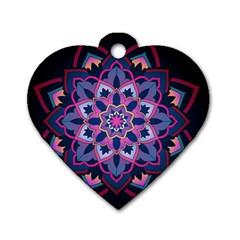 Mandala Circular Pattern Dog Tag Heart (one Side) by Celenk