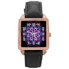 Mandala Circular Pattern Rose Gold Leather Watch  by Celenk