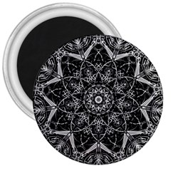 Mandala Psychedelic Neon 3  Magnets by Celenk